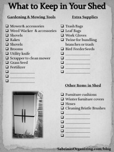 what to keep in your shed checklist