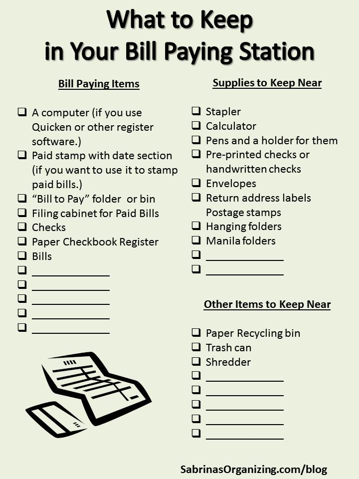 what to keep in your bill paying station checklist