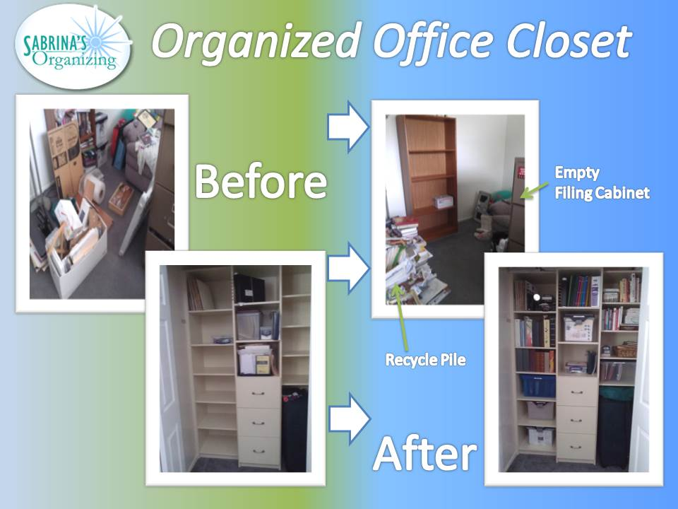 before and after, office, closet, organized