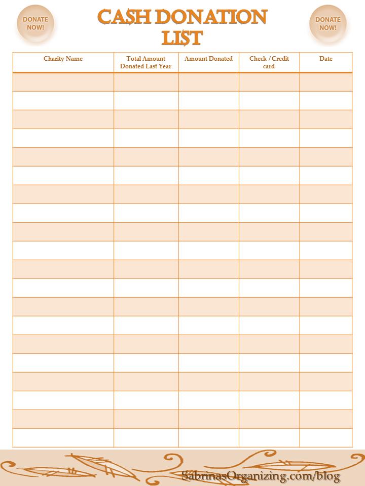 Cash donation checklist