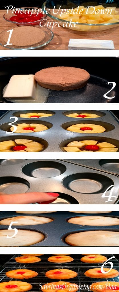 Pineapple upside down cupcake steps