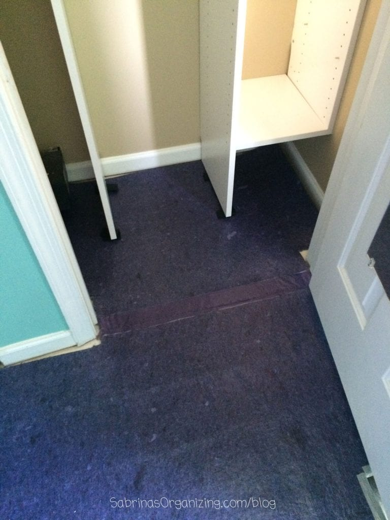 installed underlayment in the closet