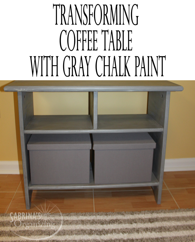 Transforming coffee table with gray chalk paint