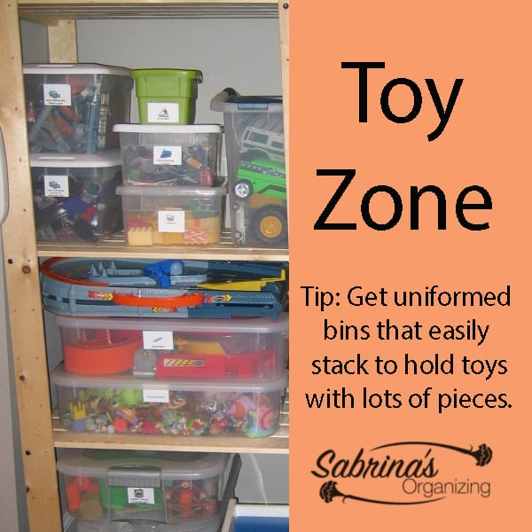 Toy Zone Area - Get uniformed bins that easily stack to hold toys with lots of pieces.